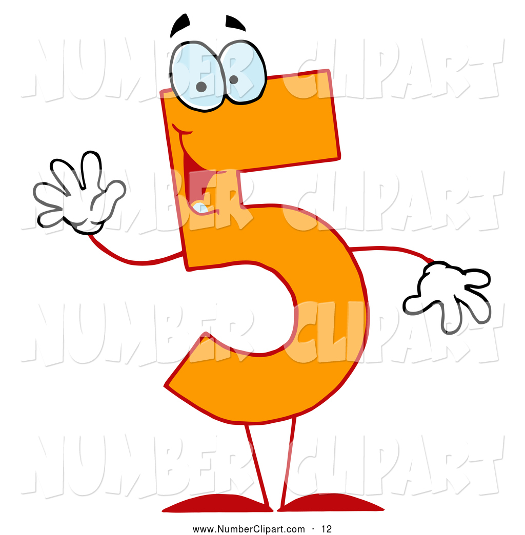 Clip Art Of A Friendly Orange Number 5 Five Guy By Hit Toon    12