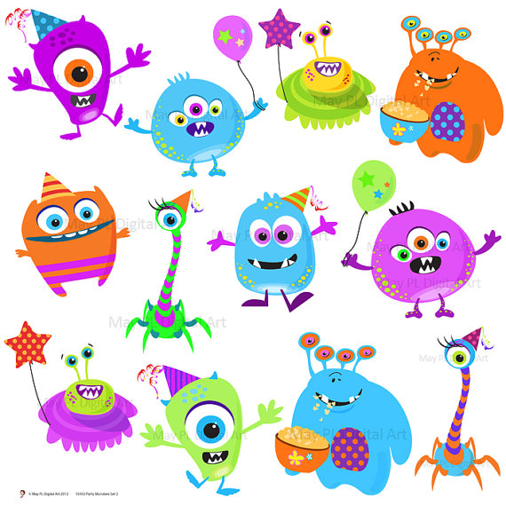 Clipart Clip Art Cute Little Birthday Party Digital Monster Silly
