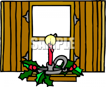 Clipart Picture Of A Christmas Candle In A Window
