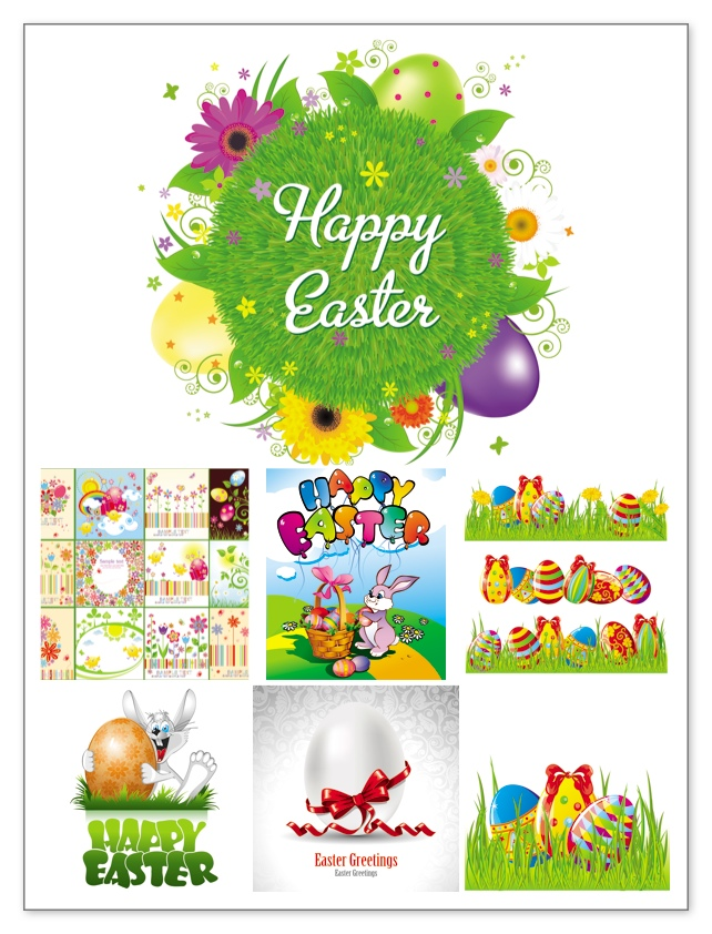 Easter Vector Clipart Set Of 7 Vector Easter Clip Arts With Easter