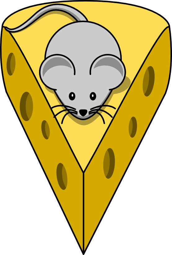 Free Cartoon Mouse On Top Of A Cheese Clip Art