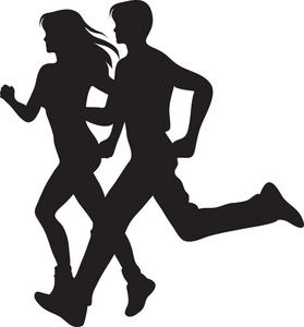 Jogging Clipart Image   Couple Running Silhouette