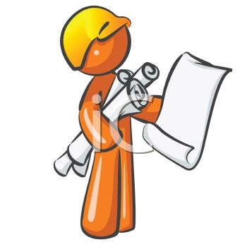 Orange Man Character Mascot Building Inspector   Royalty Free Clipart