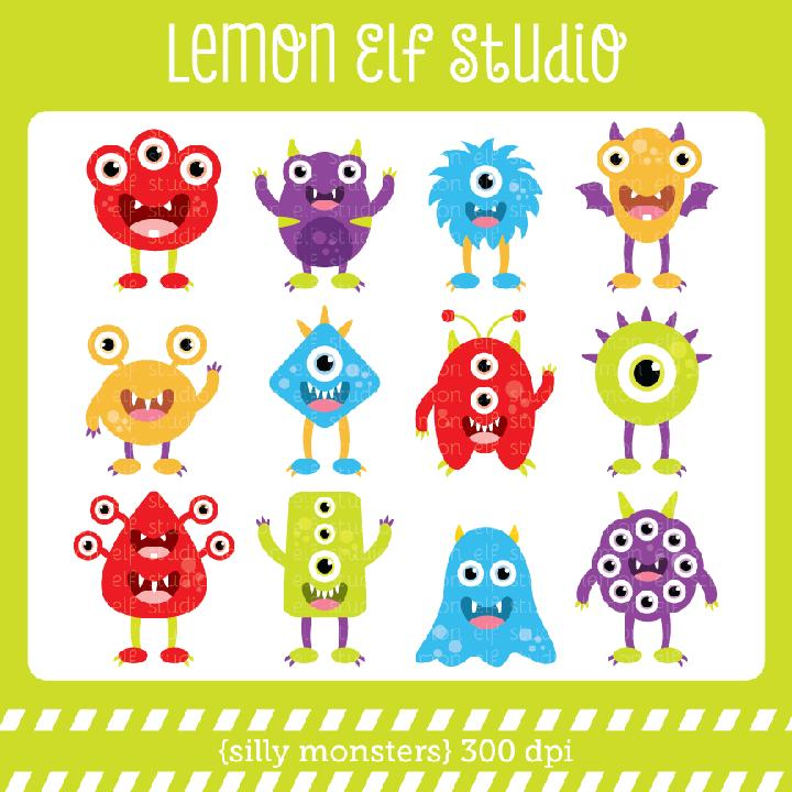 Silly Monsters Digital Clipart  Les Cl03a