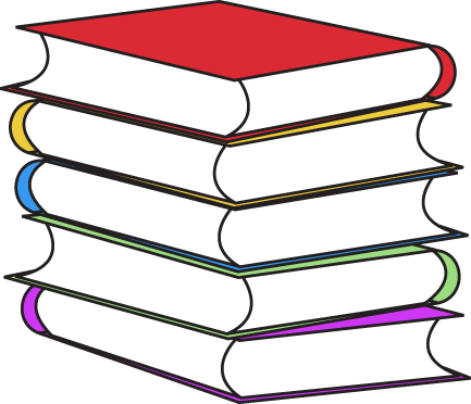 Stack Of Books Clip Art Image   Tall Stack Of Books In Various Colors