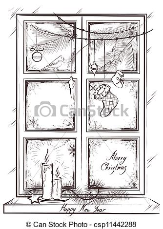 Vector Of Card With Holiday Christmas Window   Vintage Vector Card