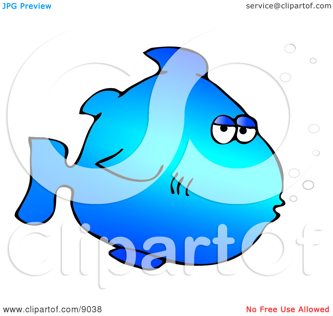 Blue Marine Fish With Bubbles Clipart Illustration By Dennis Cox