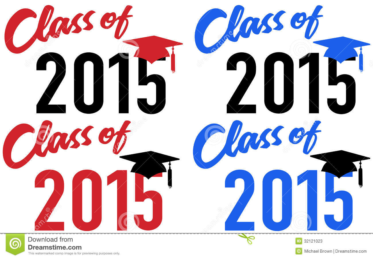 Class Of 2015 Graduation Celebration Announcement Caps In Red And Blue