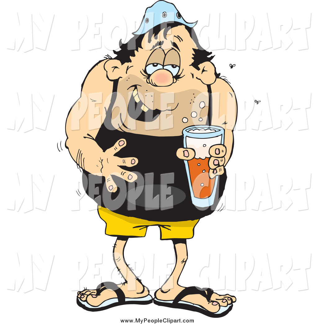 Clip Art Of A Disgusting Man Drinking Beer By Dennis Holmes Designs