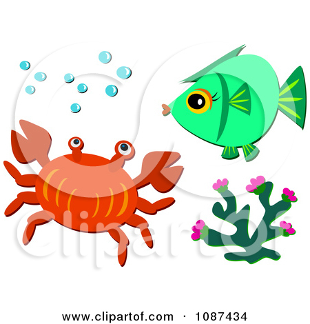 Clipart Crab Coral And Fish With Bubbles   Royalty Free Vector