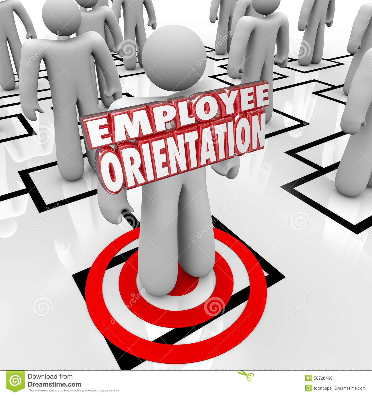 Employee Orientation Words On A New Worker Standing On An Organization