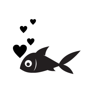 Heart Clipart   Black Heart Bubbles From A Fish With White Background