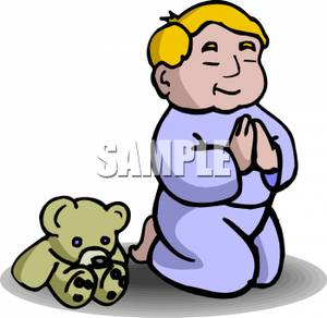 Toddler Boy Praying With His Teddy Bear   Royalty Free Clipart Picture