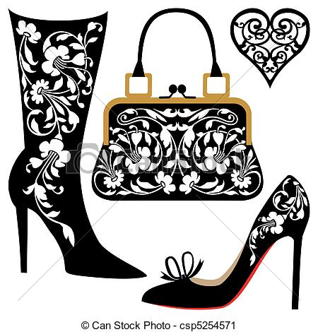 Vector Clip Art Of Fashion Illustration   Silhouettes Of Women Shoes