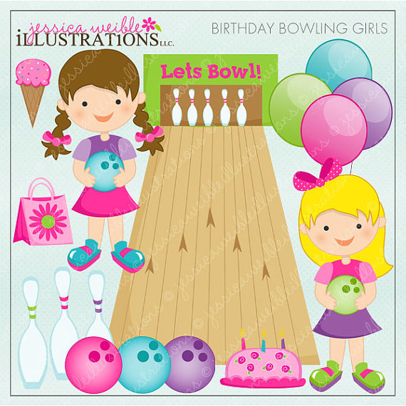 Birthday Bowling Girls Cute Digital Clipart For Card Design