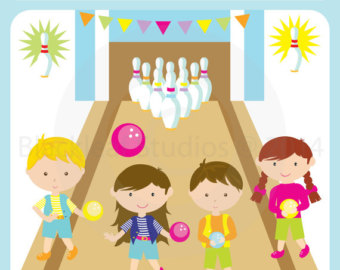 Bowling Alley Birthday Party Kids G Irls Boys Clip Art   Personal And