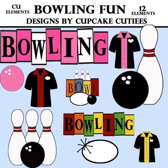 Bowling Fun Clip Art Collection Digital Clipart For Cards Invitations