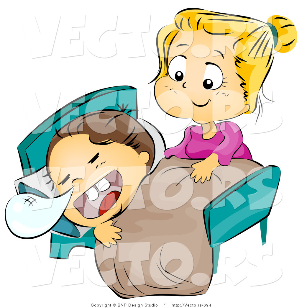 Brother In Law Clipart Vector Of A Sister Caring For Her Sick Brother