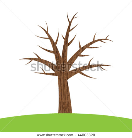 Brown Bare Tree Clipart Stock Vector Leafless Brown Tree On A Hill