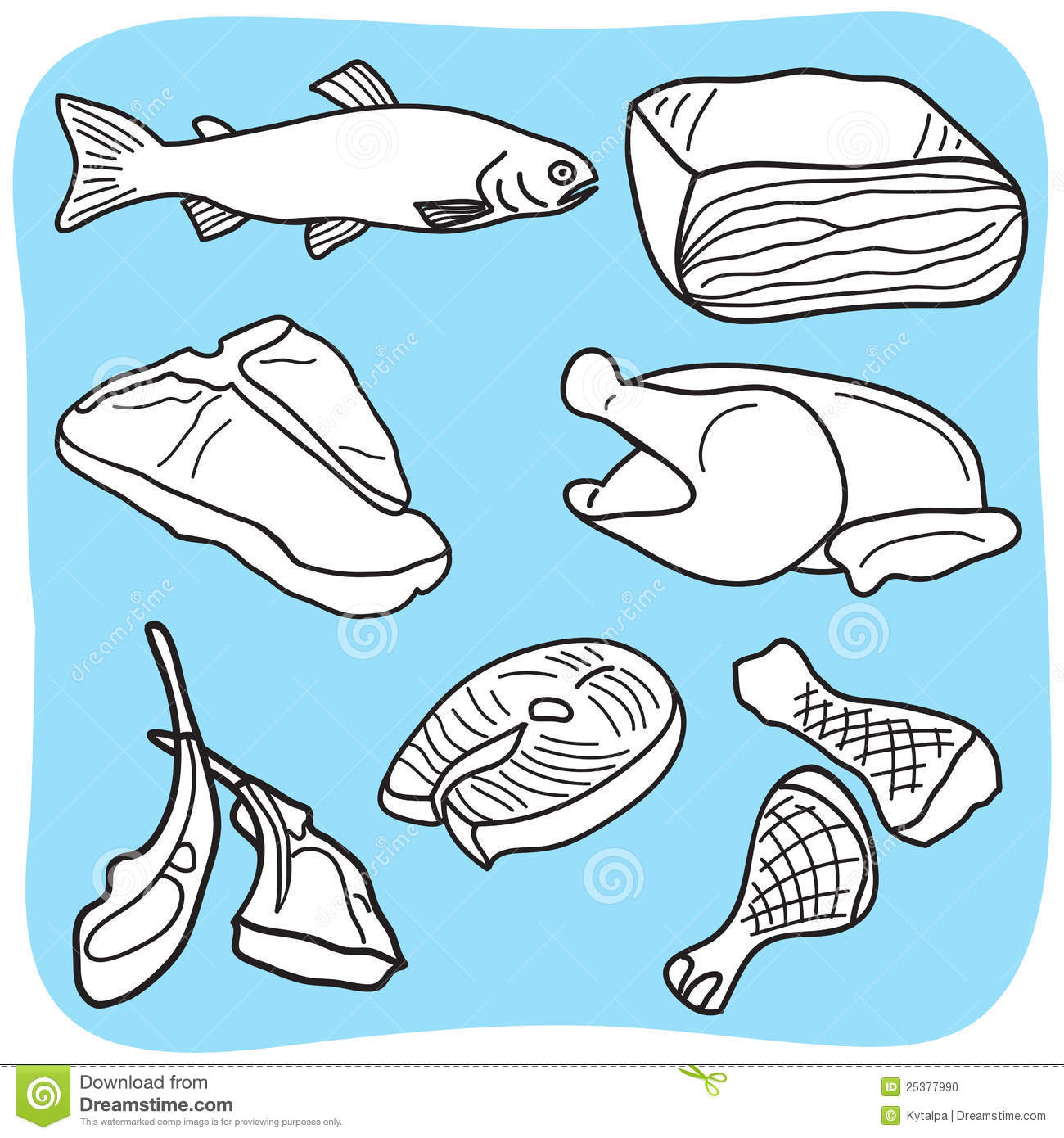 Chicken Meat Clipart Illustration Of Meat Fish And
