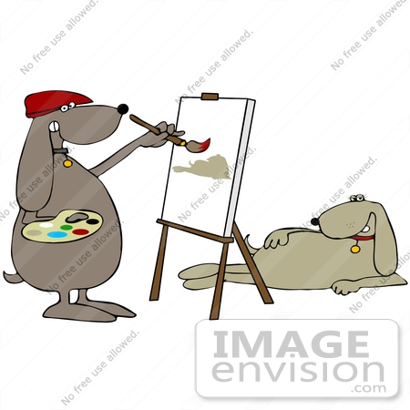 Clip Art Graphic Of A Brown Pooch Artist Painting A Model    41653 By