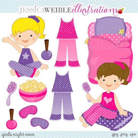Clipart   Commercial Use Ok   Slumber Party Clipart   Slumber Party
