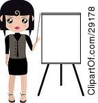 Clipart Illustration Of A Black Haired Woman Pointing To A Blank Easel