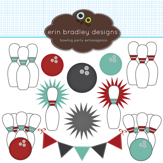 Features Bowling Pins Bowling Balls Starburst Shapes Banner Flags