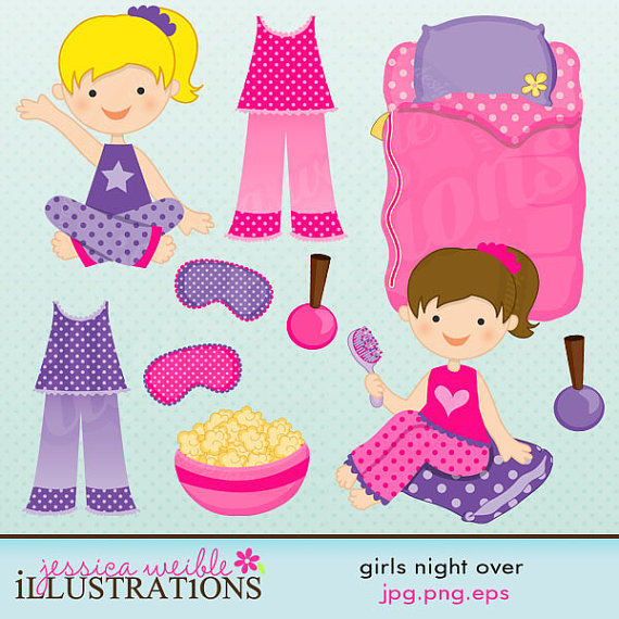 Girls Night Over Cute Digital Clipart For Card Design Scrapbooking