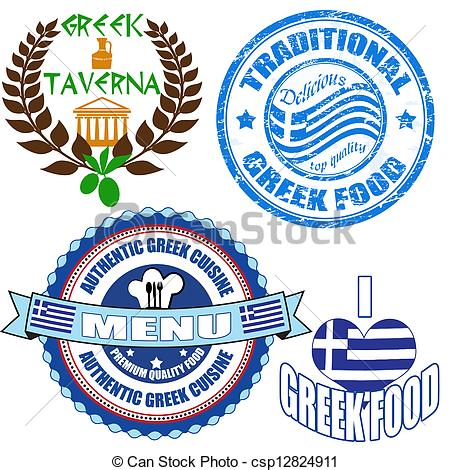 Greek Food Stamp And Labels On White    Csp12824911   Search Clipart