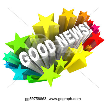 Illustration   Good News Announcement Message Words In Stars  Clipart