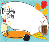 Kids Bowling Party Invitation   Royalty Free Clip Art