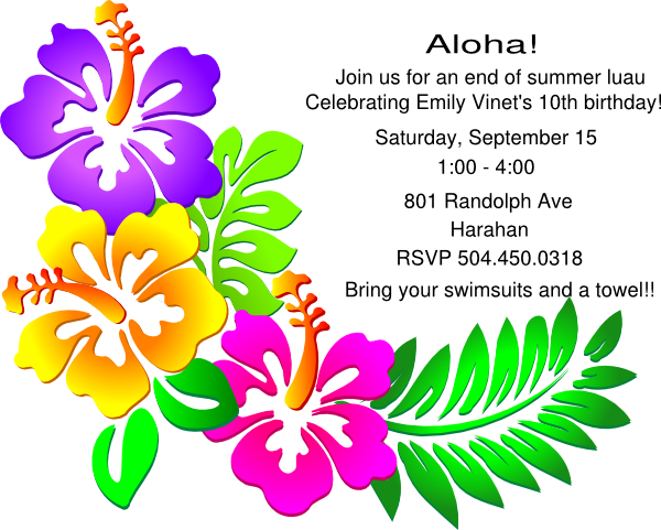 Luau Party Invitation Clip Art At Clker Com   Vector Clip Art Online
