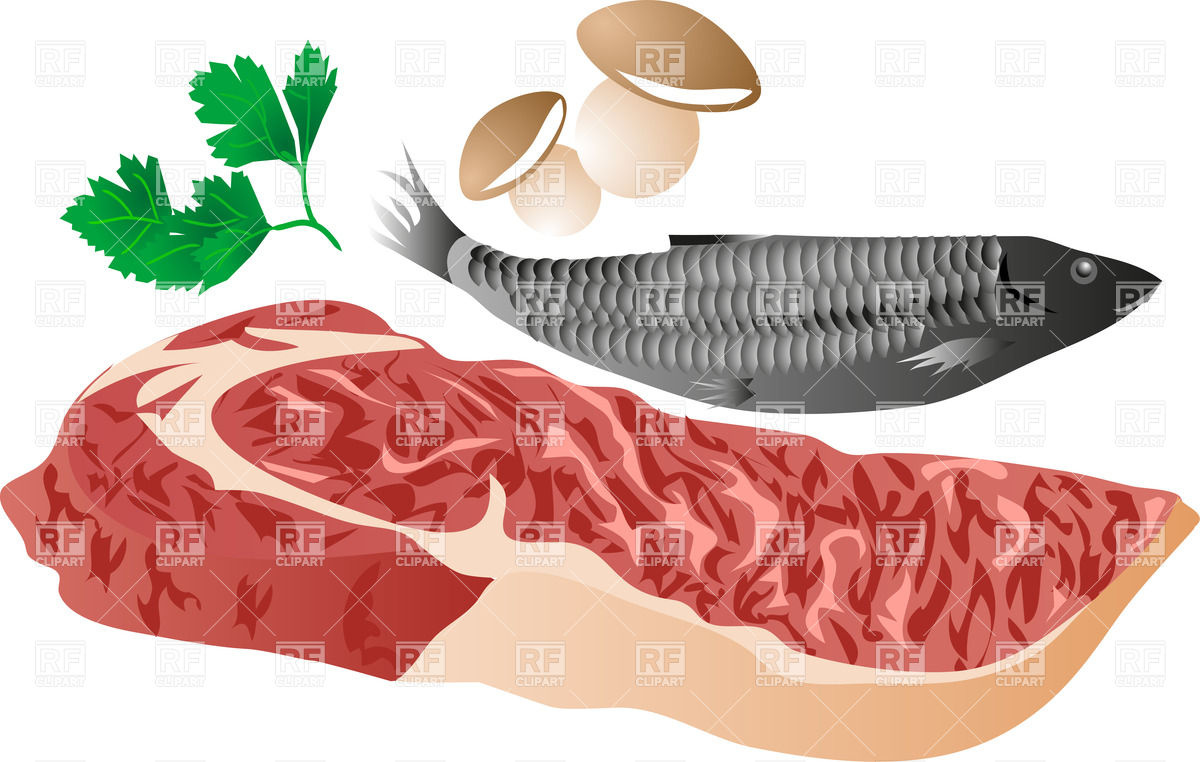 Meat Fish And Mushrooms 25345 Download Royalty Free Vector Clipart