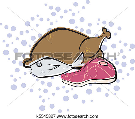 Meat  Volaille Fish Bifteck Voir Clipart Grand Format