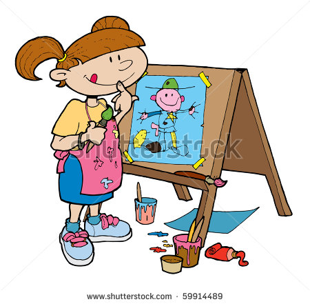 Of A Young Girl Happily Painting On An Easel    Stock Vector
