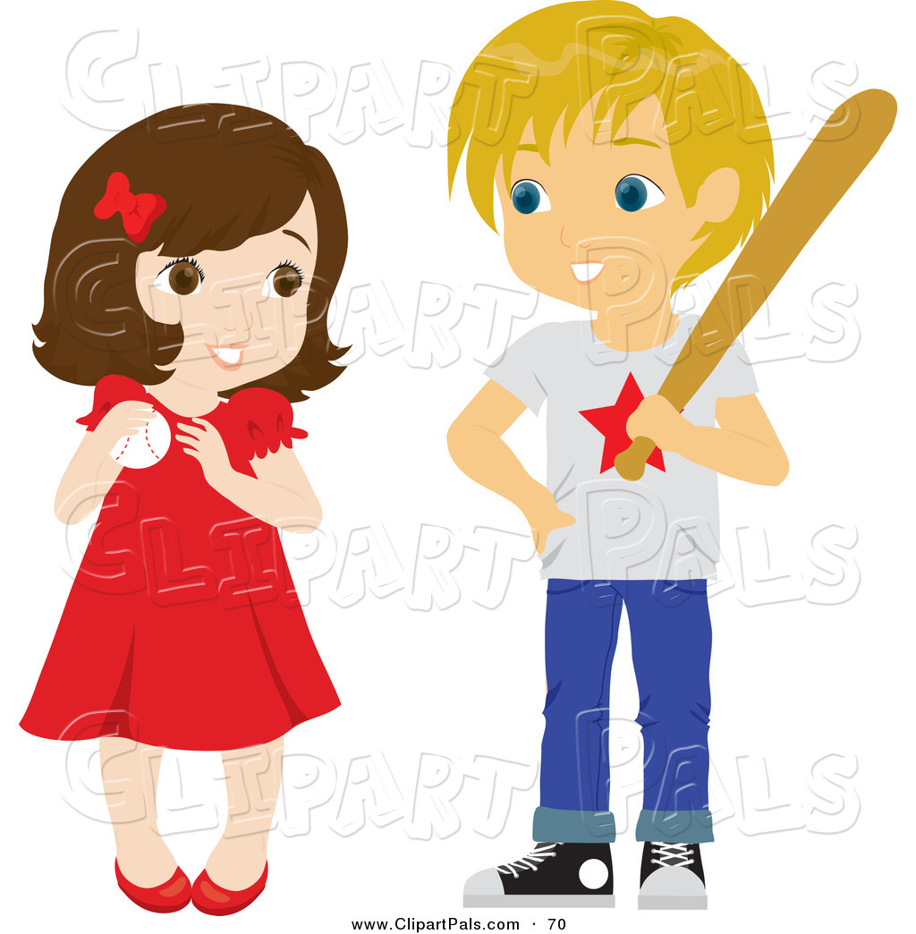 Pal Clipart Of A Cute Little Girl And Boy Playing Baseball On White By