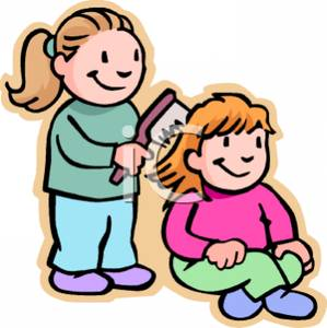 Sister Combing Her Younger Sisters Hair   Royalty Free Clipart Picture