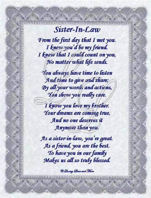 Sister In Law Poem Is For That Special Sister In Law Who Has Become