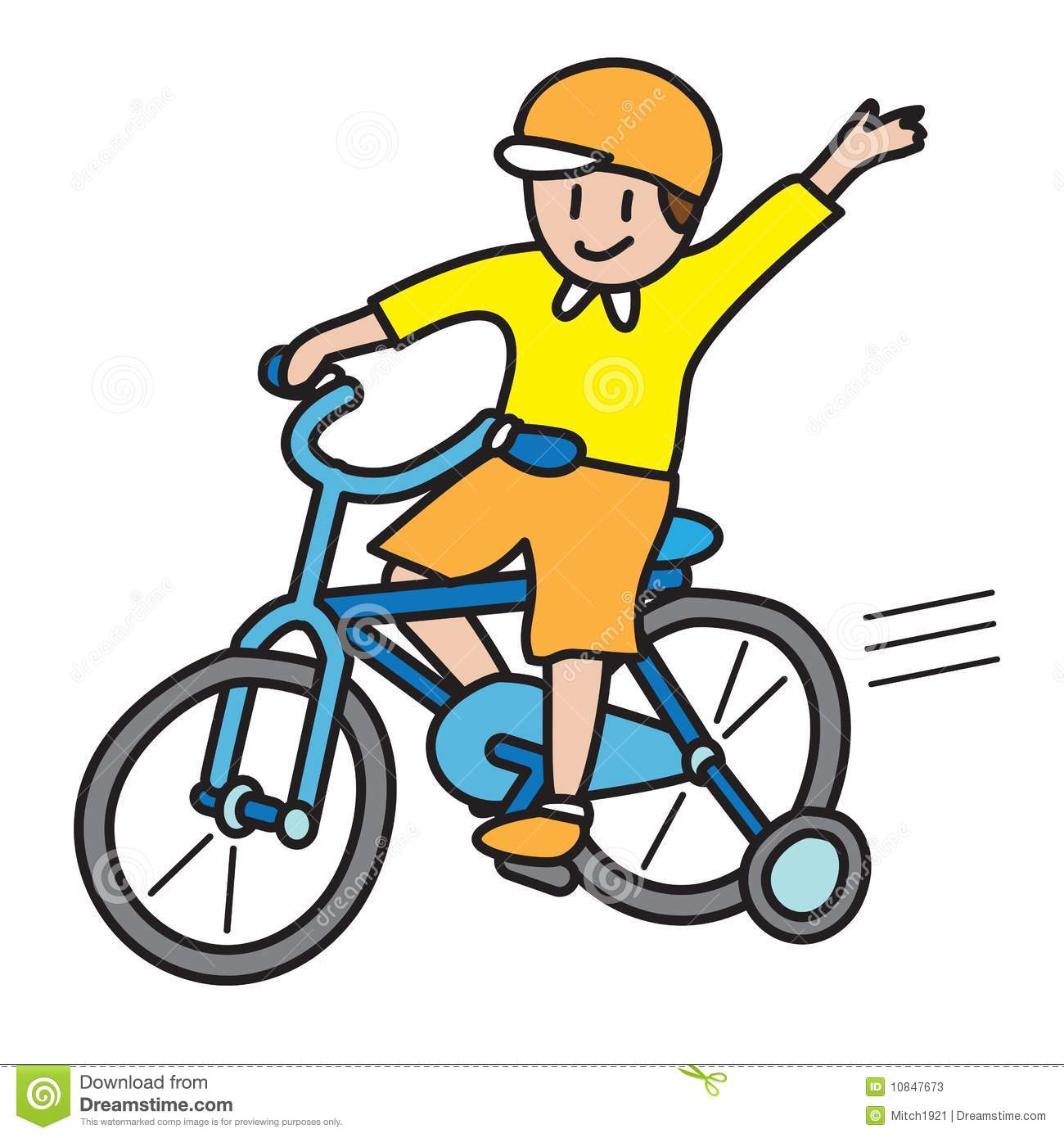 Boy Riding Bicycle Vector Illustration Isolated On White Background