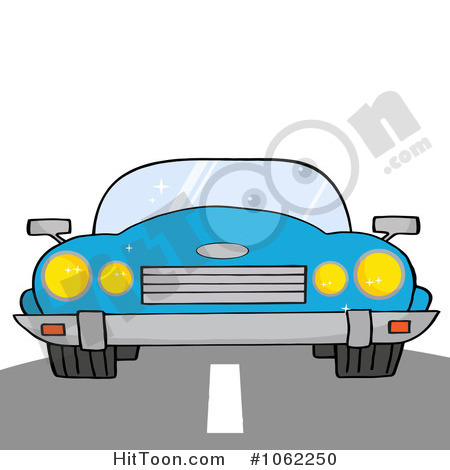 Car Clipart  1062250  Blue Convertible Car On A Road By Hit Toon