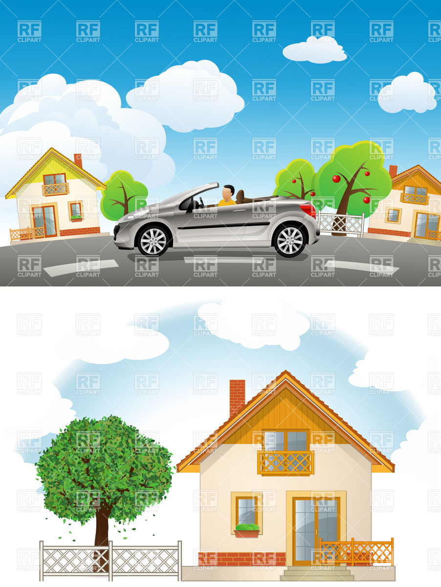 Car Road Tree Home House Download Royalty Free Vector Clipart Eps