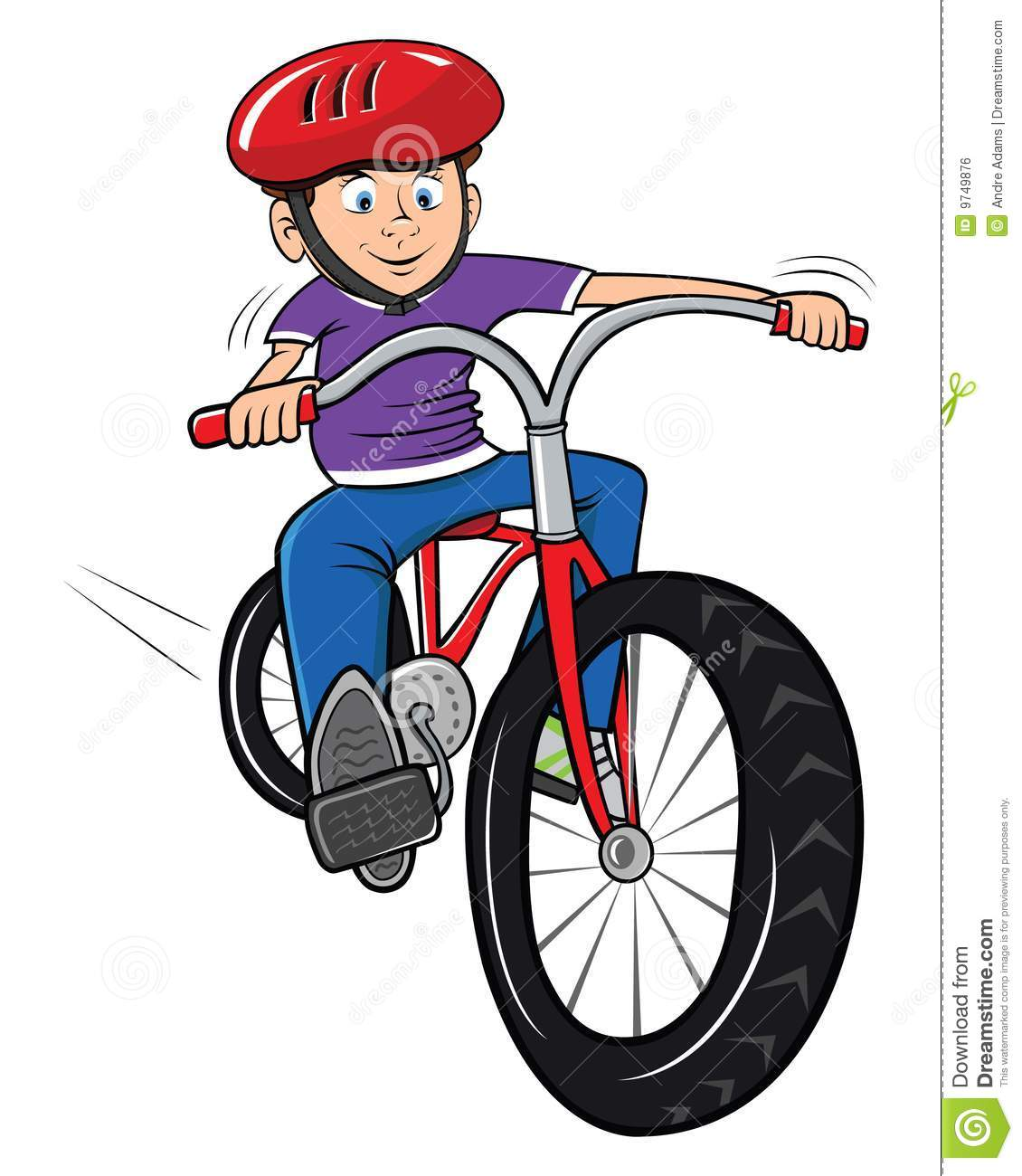 Cartoon Illustration Of A Boy Riding His Bike