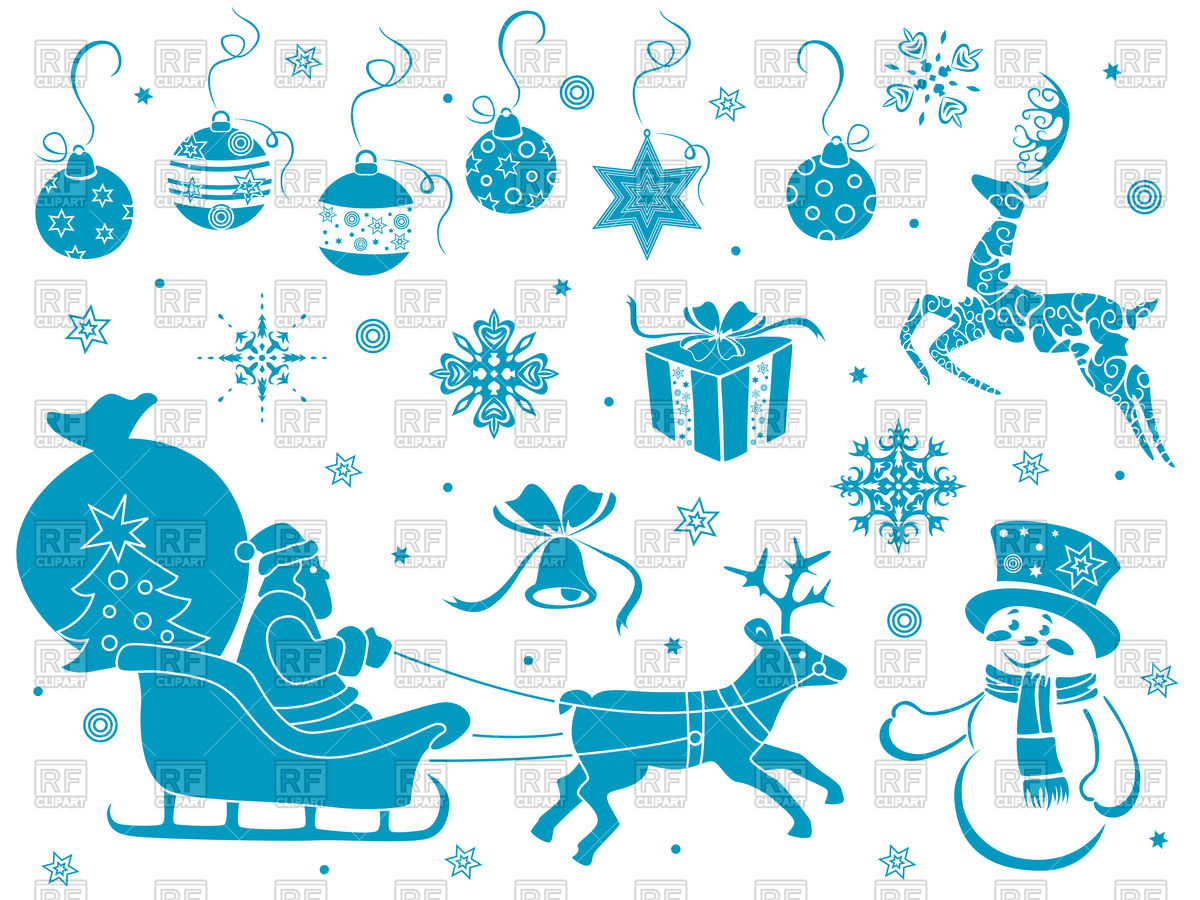 Christmas Symbols And Decoration   Winter Holiday Icons 46759