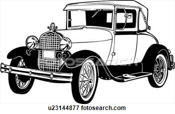 Clip Art Of  1920 1927 1930 443 Automobile Car Classic Ford