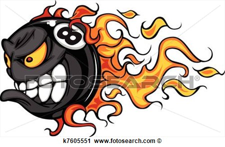 Clipart   Billiards Eight Ball Flaming Face  Fotosearch   Search Clip