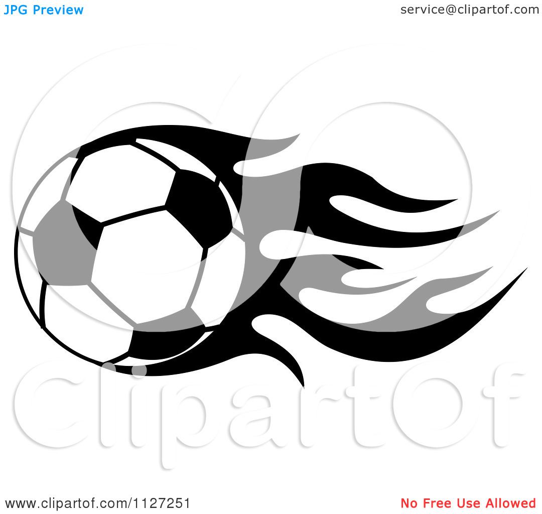Clipart Clipart Of A Black And White Soccer Ball With Tribal Flames 8