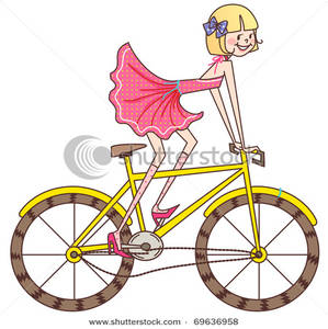 Clipart Image  Girl Riding A Yellow Bicycle
