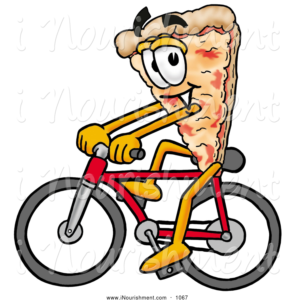 Clipart Of A Sporty Slice Of Pizza Mascot Cartoon Character Riding A