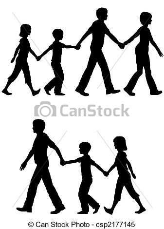 Clipart Vector Of Casual Family Mom Dad Lead Kids And Dog On Walk   On